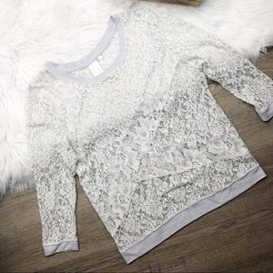 Anthropologie Gray Lace Long Sleeve Top